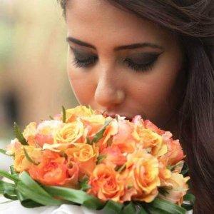 זר כלה ורד כתום