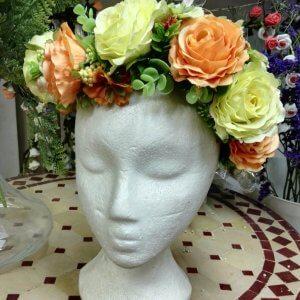 זר ורדים לראש מפרחים מלאכותיים